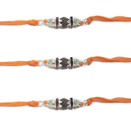 NYGT Rudraksha Designer Rakhi Set für Herren Versilberter 2-Ring Stein mit Perlen Mehrfarbiger Faden Rakhi für Brother/Bhaiya/Bhabhi/Bhai/Bro (3er Pack) Rakshabandan Armband -