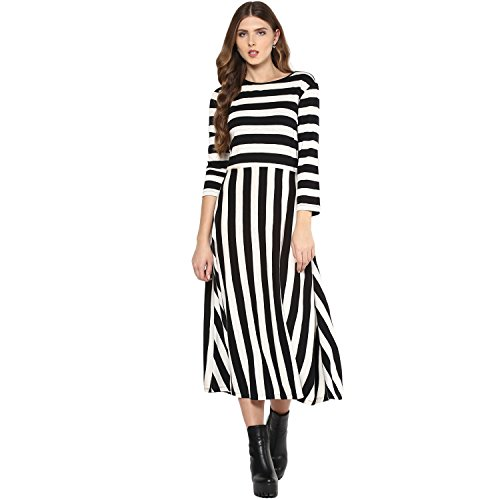 Femella Fashion's Black Bold Stripe Midi Dress (DS-2151102-1415-BAW-L)