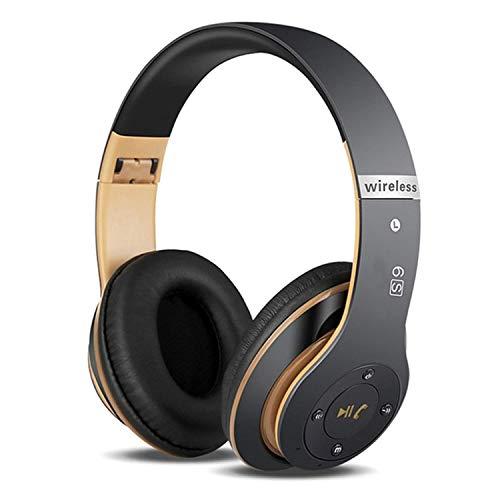 6S Kabellose Kopfhörer Over Ear, Bluetooth Ohrhörer HiFi Stereo Kopfhörer Zusammenklappbarer Kabellos Headphone, Eingebautes Mikrofon Micro SD/TF FM (für iPhone/Samsung/iPad/PC) (Schwarz & Gold)