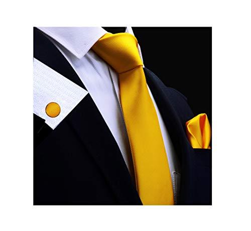 BKDTDYL Silk Männer Tie Set 8Cm Krawatten Einstecktuch Manschettenknöpfe Sets Rot Gold Lila Krawatte 14