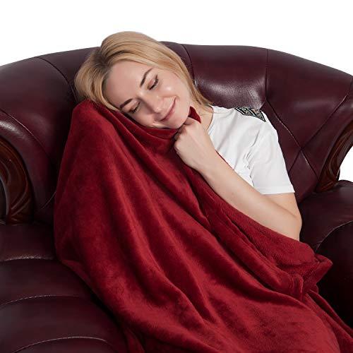 Ataya Flanell Vlies Decke Qualitäts Fester Samt Plüsch Wurf für Bett Couch Sofa (Chenille Samt Decke)
