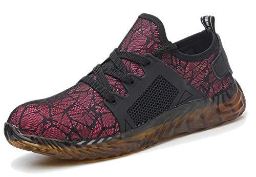 TQGOLD Scarpe Antinfortunistica Uomo Donna S3 Estive Scarpe da Lavoro con Punta in Acciaio Comode Sneaker Traspiranti(Rosso,Taglia 41)