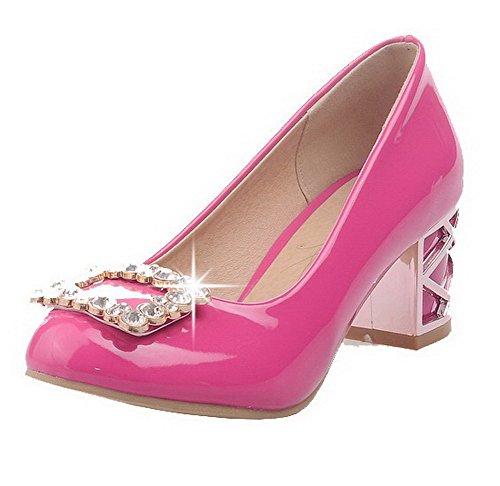 AgooLar Femme Tire Rond à Talon Correct Matière Mélangee Mosaïque Chaussures Légeres Rose Tendre