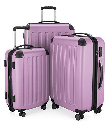 HAUPTSTADTKOFFER HAUPTSTADTKOFFER - Spree - 3er Koffer-Set - Handgepäck 55 cm, mittelgroßer Koffer 65 cm, großer Reisekoffer 75 cm, TSA, 4 Rollen, Flieder