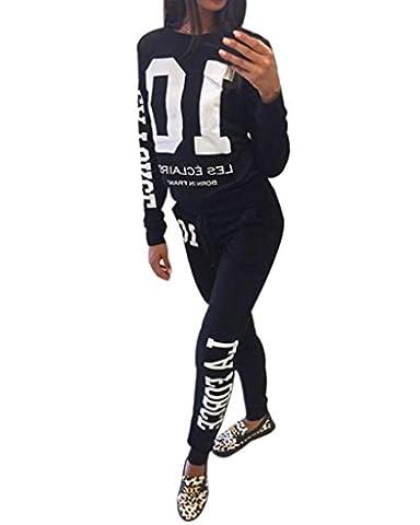 Minetom Femme Automne Tops à Manches Longues Pantalons Survêtements Ensembles Sportswear Sports Jogging Sweat-shirt Noir FR 40