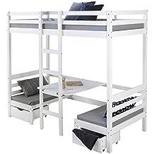 Homestyle4u 1727, Kinder Hochbett Mit Schreibtisch Weiß, Massivholz Kiefer,  90x200 Cm