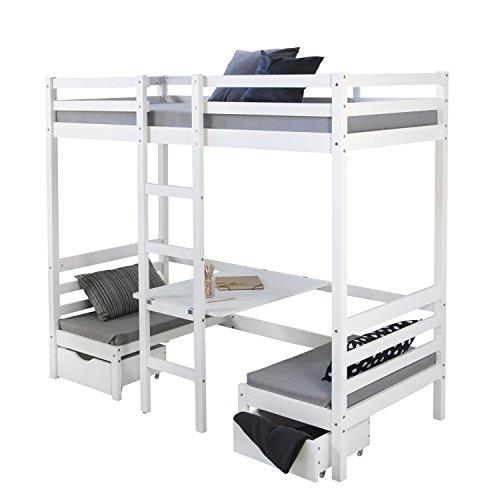 etagenbett haus Homestyle4u 1727, Kinder Hochbett Mit Schreibtisch Weiß, Massivholz Kiefer, 90x200 cm