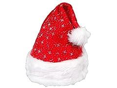 Idea Regalo - Cappello Babbo Natale per bambini e bimbi di vari colori e disegni, cappellino con pompon, luce LED intermittente per la festa di natale, per travestimento natale, batterie incluse, wm-01a bambini rosso