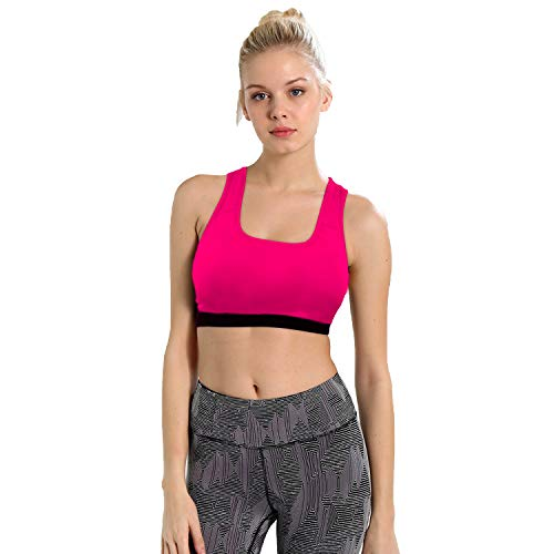 CHKOKKO Women's Non-Wired Padded Sports Bra(Pink_XL)