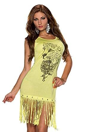 5176 Fashion4Young Damen Ärmelloses Minikleid Longtop Kleid verfügbar in 6 Farben Gr. 36/38 (36/38, Gelb)