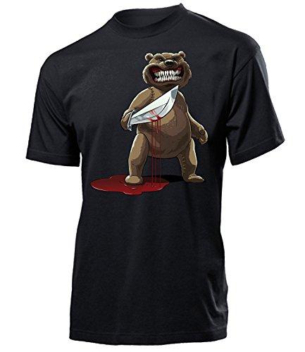 Killer Teddy Bär 5957 Halloween Kostüm Herren Männer T-Shirt Partnerlook Verkleidung Party Schminke Gruselig Hand Geist Insekten Perücke
