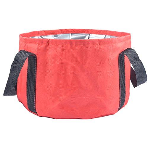 Hooyee Multifunktionaler Eimer, zusammenklappbar, tragbar, als Waschbecken nutzbar, für Reisen, Outdoor, Camping, Wandern, Angeln, Waschen, rot