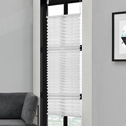 [neu.haus] Klemmfix Plissee (55 x 100 cm) (weiss) - Sonnen- und Lichtschutz - blickdicht (bohren entfällt)