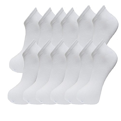 12 Pairs Mens Sport Performance Trainer Low cut Socks - Size 6 - 11 (White )