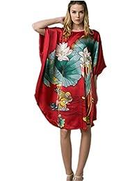 f2bdd4868c Prettystern - 100% Crepe Seta Kimono Pigiama Camicia da Notte Lingerie con  Pittura a Pennello