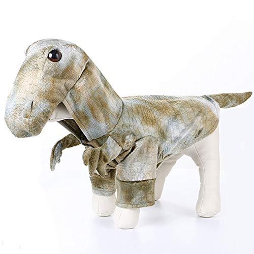 Dinosaurier Ziel Kostüm - DOGCATMM 3D Dinosaurier Hund Kleidung lustige Haustier Halloween Kostüm Party Haustier Kleidung weiche Welpen Outfits für Hund Chihuahua Kleidung