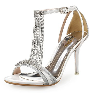 LvYuan Damen-Sandalen-Hochzeit Kleid Party & Festivität-Kunststoff Glanz-Stöckelabsatz-Club-Schuhe-Blau Rot Silber Gold sliver