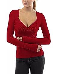 ZANZEA Mujer Blusa Camiseta de Chiffón Gasa de Moda con Escote Cruzado Mangas Largas