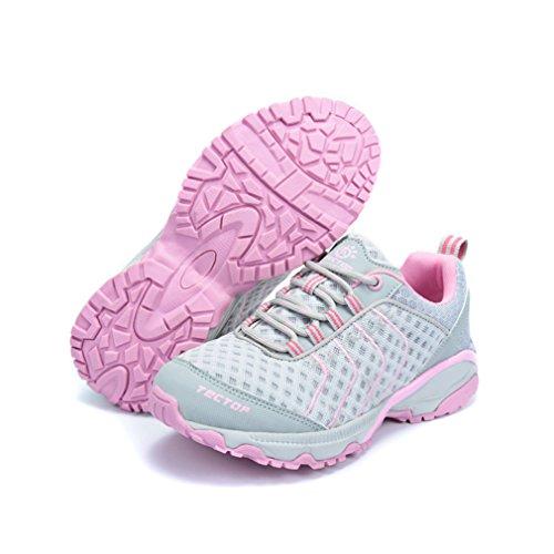 emansmoer Femme Ultra-léger Outdoor Sport Chaussures de Randonnée Marche Trekking Lace-up Mesh Respirante Confort Sneaker Gris