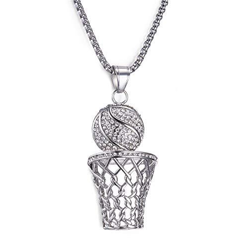 ZUXIANWANG Halskette Edelstahl Halskette für Männer Frauen Basketball Punk Anhänger Kette Halsketten & Anhänger Hip Hop Mode Schmuck, C