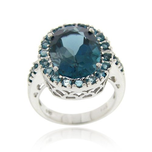 PLATA DE LEY DE 9CT LONDON AZUL TOPACIO ANILLO COCKTAIL OVAL