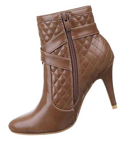 Damen Stiefeletten Schuhe Stiletto High Heels Boots Mit Deko Schwarz Braun