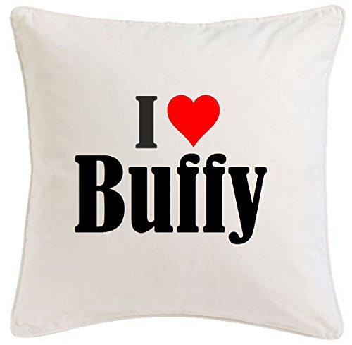 """taie d'oreiller """"I Love Buffy"""" 40cmx40cm microfibre ... cadeau idéal et décoration de bon goût pour chaque salon ou chambre à coucher en blanc avec fermeture éclair, Divers"""