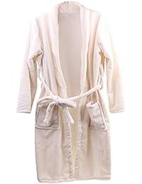 NF&E Men Women Collar Charms Long Sleeve Wrap Belted Loose Coral Fleece Sleepwear Loungewear Spa Robe Bathrobe...