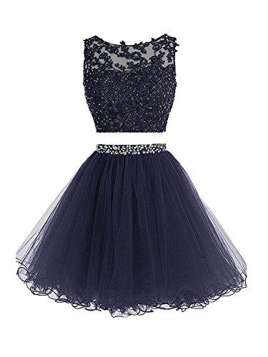 Sweetylife Abschlusskleider Kurz A linie Abendkleider Ballkleider Party Kleid N002B Marineblau 36