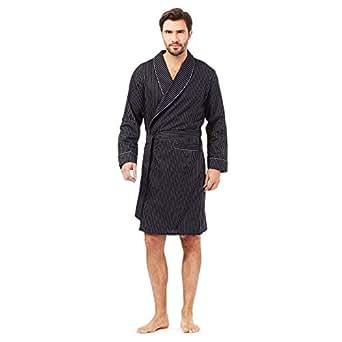 J By Jasper Conran Mens Designer Black Satin Stripe Dressing Gown S