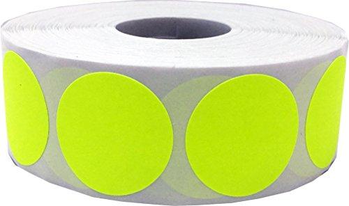 Fluorescente Amarillo Circulo Punto Pegatinas, 25 mm 1 Pulgada Redondo, 500 Etiquetas en un Rollo