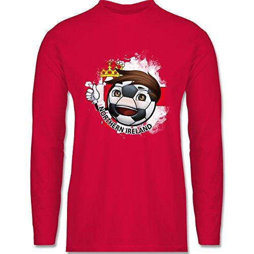 EM 2016 - Frankreich - Fußballjunge Nordirland - Longsleeve / langärmeliges T-Shirt für Herren Rot