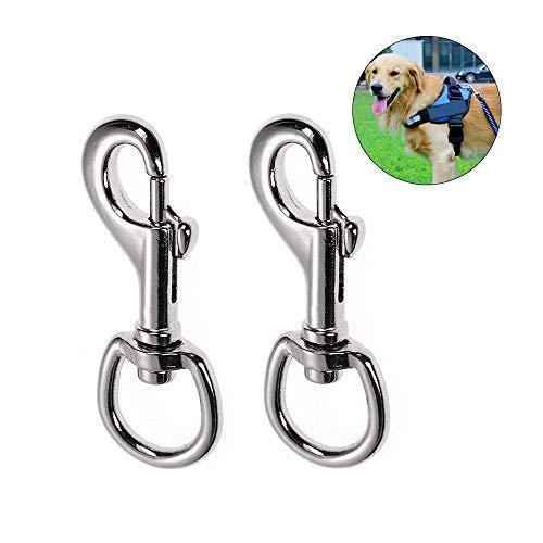 Ein Satz Von 2 Robusten Karabinerhaken, Hundehalsband Mit Drehgelenk, Hakenlänge 90mm, für Hundeleine,Bergsteigen, Schlüsselbund, Schnalle für Haustiere (Silber) -
