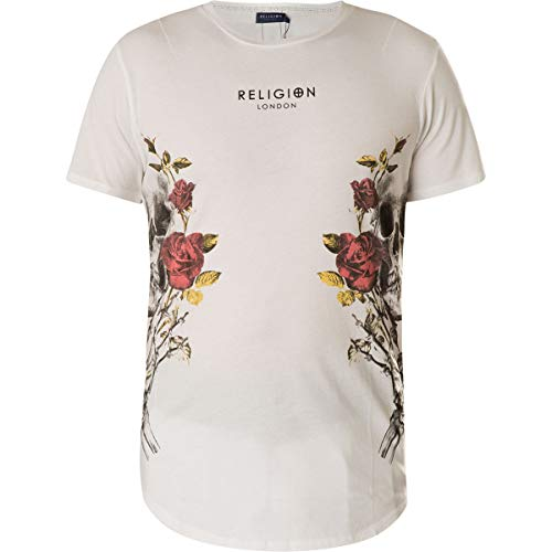 Religion T-Shirt Skull Wreath Curve Hem Tee 48BSUF30 White Weiß, XXL