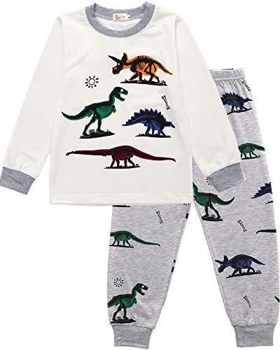EULLA Jungen Schlafanzug Lang Kinder Pyjama Baumwolle Nachtwäsche, A-weiß, EU 104(3-4Jahre)=Tag 110