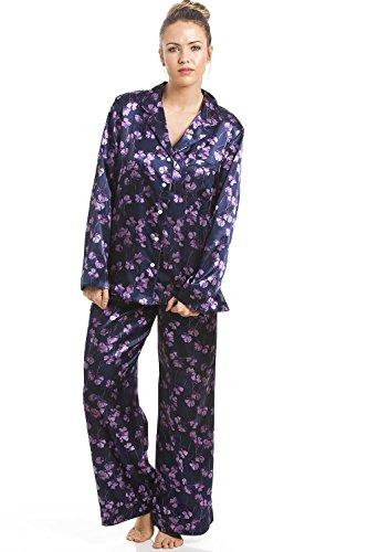 Camille - Damen Pyjama aus Satin - mit Blumenmuster - Violett 40 (Satin Floral Pyjama)