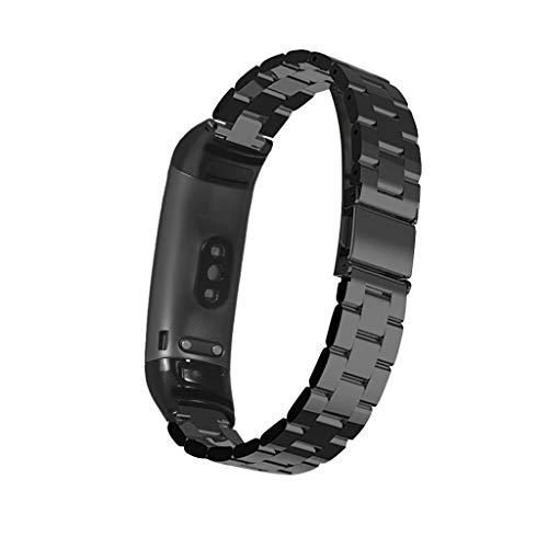 Armband für Huawei Band 3/Huawei Band 3 Pro, Amuse-MIUMIU Ersatz Edelstahl Quick Release Wrist Strap für Männer&Damen Uhrenarmband für Huawei Band 3/Huawei Band 3 Pro (Schwarz)