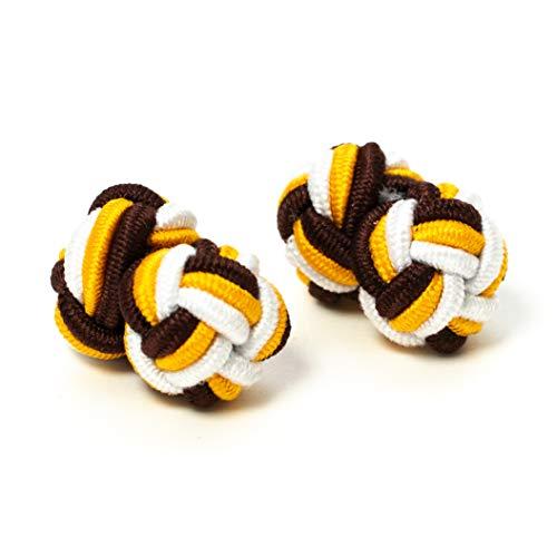 Hersteller: Bull & Drake Paar Manschettenknöpfe Seidenknoten Knoten Knötchen 3farbig gelb, weiß, braun hochwertig Stoffknoten Cufflinks Gentleman Umschlagmanschette Manschette dehnbar (1 Paar)