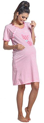 Zeta Ville Maternité Nuisette grossesse Chemise de nuit allaitement femme - 891c Rose Clair