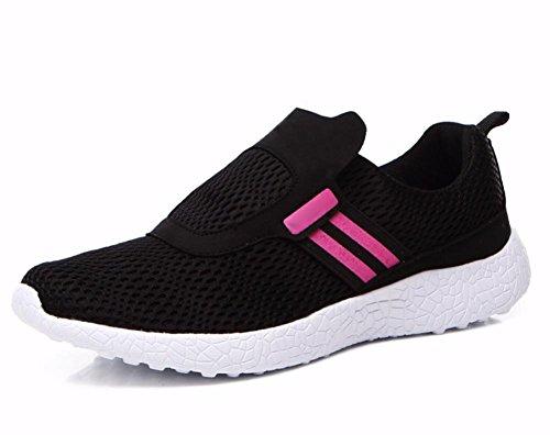 Herbst atmungsaktive Mesh-Schuhe Frau Schuhe Sportschuhe leichte Laufschuhe flach Black