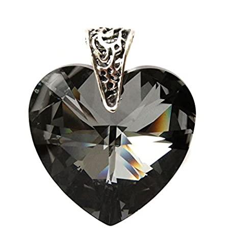 28mm Silver Night Black Crystal Heart Pendant with Sterling Silver Filigree Bail - Pendant Only - Crystals from Swarovski