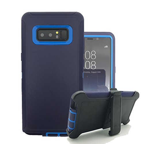 Galaxy Note 8Case, harsel Heavy Duty Triple Layer High Impact Resistant Hybrid Rugged Hard Bumper Soft Silikon Cover Haut mit drehbarer Gürtelclip Ständer für Galaxy Note 8Fall, Marineblau (Tab Militär-fall Samsung 3)