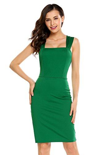 ACEVOG Damen Mini Trägerkleid Rückenfreies Ärmelloses Etuikleid Sommer Party Kleider mit Schleife auf der Rückseite (Grün,XS)
