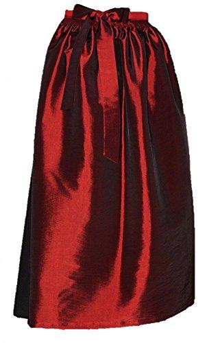 Gr.34-50 S M L XL Dirndl Schürze Dirndlschürze Trachten Mode grün pink rot rosa, Größe:L = 40 42 44;Farbe:dunkelrot