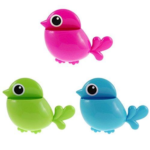 DealMux Kunststoff-Vogel-Entwurf Haus Zahnbürste Zahnpasta Halter 3pcs Tri-color (Haus-entwurf)