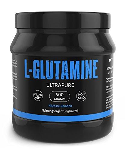 L-GLUTAMIN Ultrapure Pulver In Deutscher Premiumqualität Sehr Hochdosiert und 100% Rein - Perfekt für Bodybuilder I Vegan I Made In Germany I 500g I Gym Nutrition