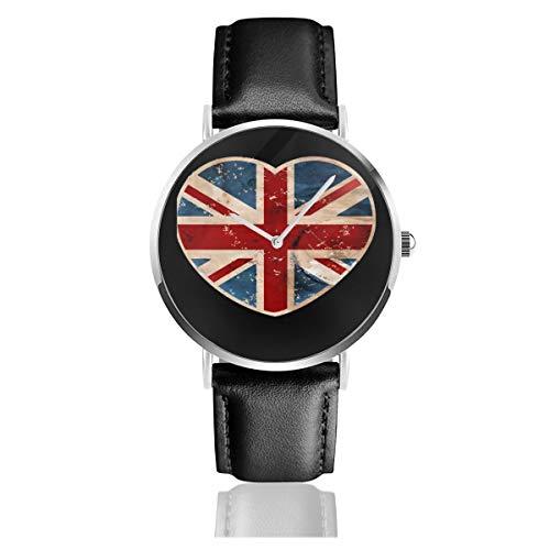 Unisex Business Casual Union Jack Love Heart Watch Quarz Leder Armbanduhr mit schwarzem Lederband für Männer und Frauen Young Collection Geschenk -