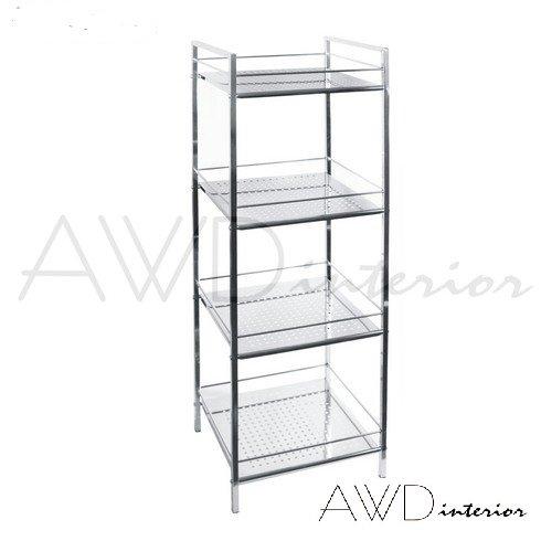 Hochwertiges Designer Badregal-Standregal-Allzweckregal-verchromt Stahl-4 Ablagen-Quadratische Form-Größe: 35*30*116,5cm-AWD02040144-AWD DESIGN