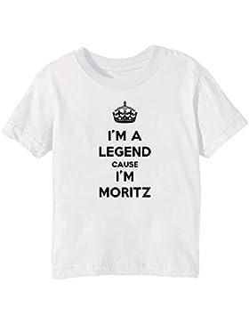 I'm A Legend Cause I'm Moritz Bambini Unisex Ragazzi Ragazze T-Shirt Maglietta Bianco Maniche Corte Tutti Dimensioni...