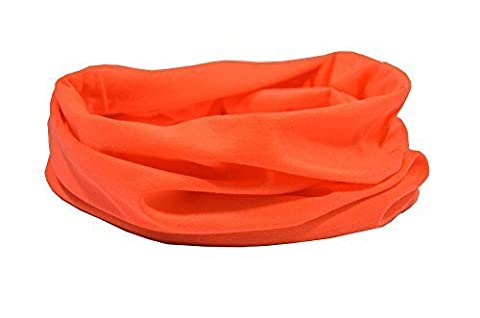 FLUORESCENT ORANGE - BE SEEN - RUFFNEK? Multifunctional scarf/neckwarmer for men,women & children - running, ski mask, head band,hat for cycling,motorbikes,outdoors,camping,dog walking